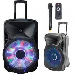 "BOXA PORTABILA ILUMINATA LED 15""/38CM 400W RMS CU USB/SD/BT/FM"